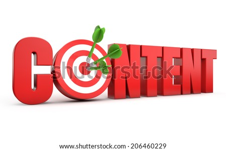 red content text and dart hitting a target isolated white background - stock photo
