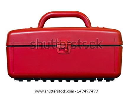 Red cooler plastic box in white background with clipping path - stock photo