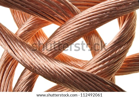 Red copper wire industry development - stock photo