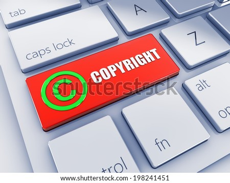 Red copyright key with green icon , 3d computer keyboard - stock photo