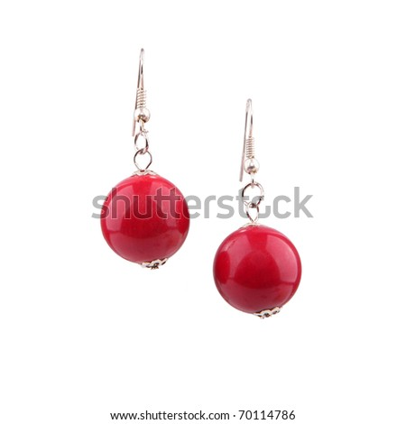 Red coral earrings isolated on white - stock photo