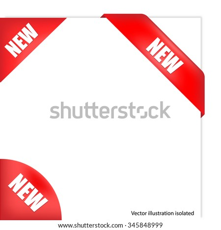 Red corner New text - stock photo