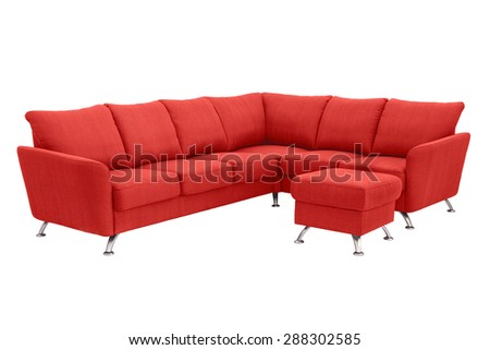Red corner sofa up to 5 persons with a leg support.