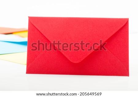 red correspondence envelope - stock photo