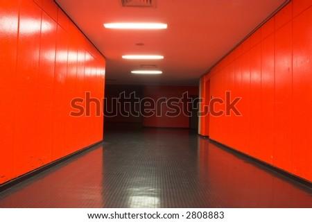 Red corridor - stock photo