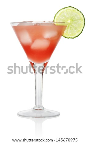 Red Cosmopolitan Cocktail  with a slice of a lime, isolated on a white background - stock photo