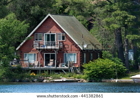 Red cottage on a lake - stock photo