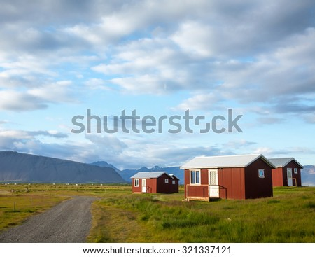 Red cottages at campsite in Iceland