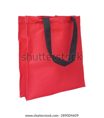 red cotton eco bag on white background