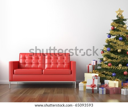 red couch and christmas tree with presents in a white clean room with copy space - stock photo