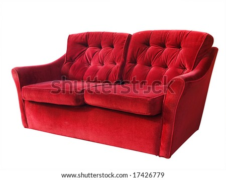 Red Couch isolated with clipping path - stock photo