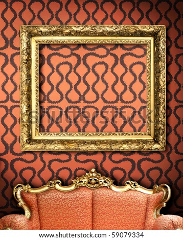 red couch with empty frame in minimalist interior - stock photo
