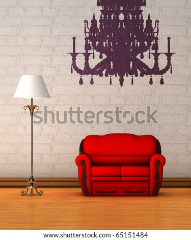 Red couch with standard lamp and  silhouette of chandelier in minimalist interior - stock photo
