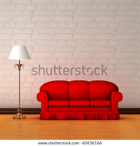 Red couch with standard lamp in minimalist interior - stock photo