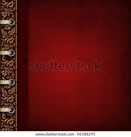Red cover for an album with photos - stock photo