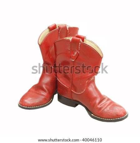 Red cowboy boots - stock photo