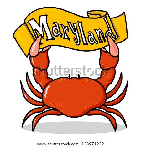 Red Crab Holding a Sign Maryland; Red Crab Illustration - stock photo