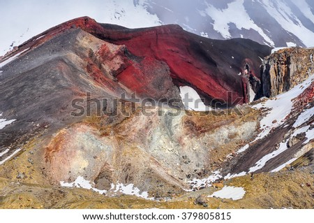 Red Crater from close range in the winter Tongariro Alpine Crossing, New Zealand