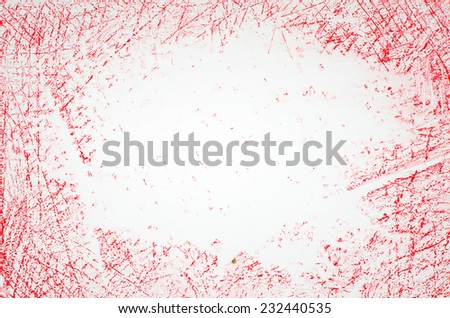 red crayon scribbles on white background - stock photo