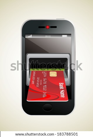 Red Credit Card and modern mobile phone - stock photo