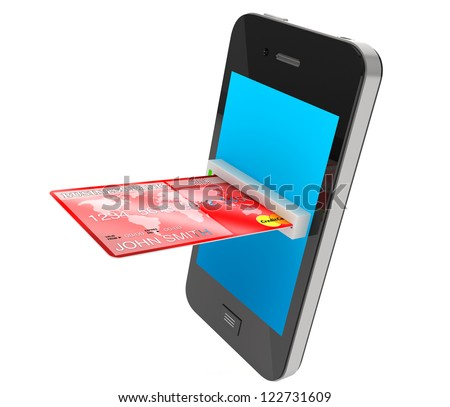 Red Credit Card and modern mobile phone on a white background - stock photo
