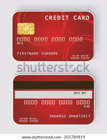 Red credit card Banking concept front and back view - stock photo