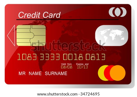 Red credit card , highly detailed, (jpg) - stock photo
