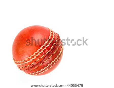 red cricket ball, isolated on white background. - stock photo