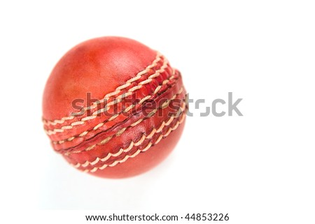 Red cricket ball, isolated on white background - stock photo