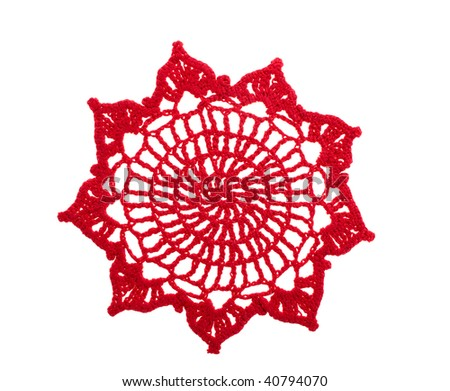 Red crochet doily - stock photo