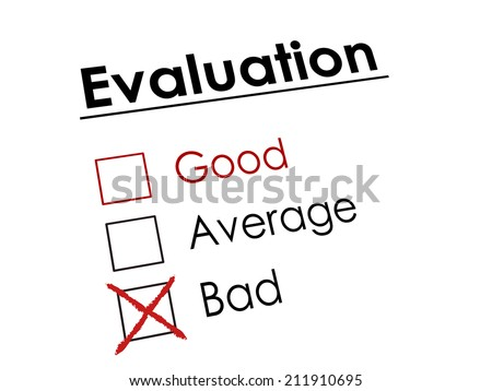 red cross drawn on evaluation check box  - stock photo