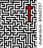 red cross in complex maze - stock photo