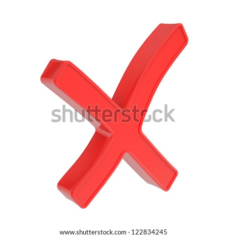 Red cross. Isolated render on a white background - stock photo