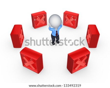 Red cross marks around 3d small person.Isolated on white background.3d rendered. - stock photo