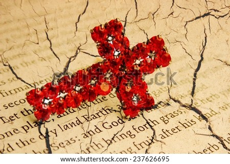 Red cross on grunge background - stock photo