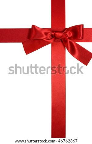 red cross ribbon vertical with bow isolated on white background