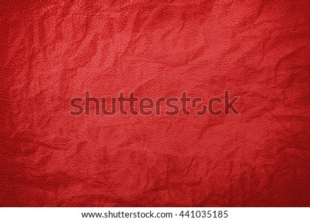Red crumpled leather texture - stock photo