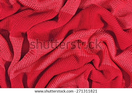Red crumpled stockinet background - stock photo