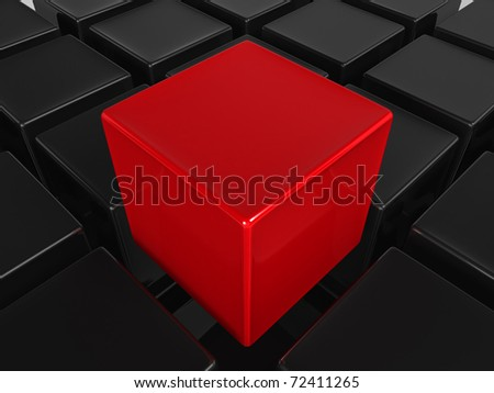 Red cube - stock photo