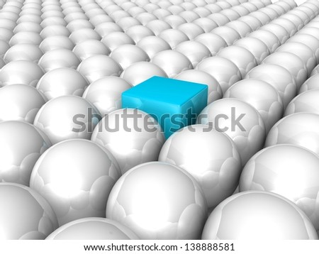 Red cube among white spheres. Leader. Concept. 3d illustration. - stock photo