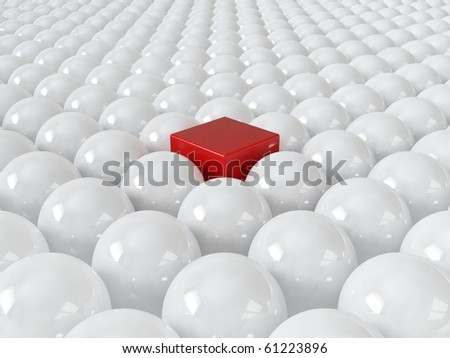 Red cube among white spheres, standing out in the crowd concept - stock photo