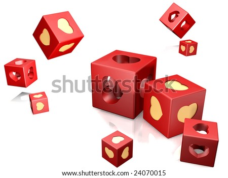 Red cube and gold heart on a white background