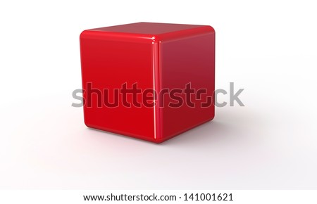 red cube in 3d isolated on blackred cube in 3d - stock photo