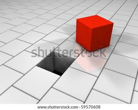 Red cube next to the hole, puzzle, 3d render - stock photo