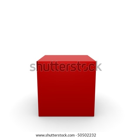 red cube on a white background - stock photo