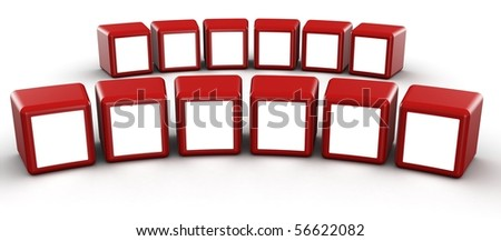 Red cube photo frame display image in white space select alpha to add your photo - stock photo