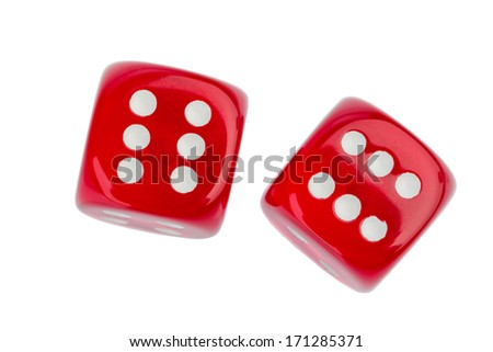 red cube, symbol photo for gambling, risk and gambling addiction - stock photo