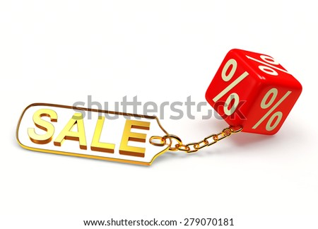 Red cube with a percent sign and metal label with word SALE isolated on white background - stock photo