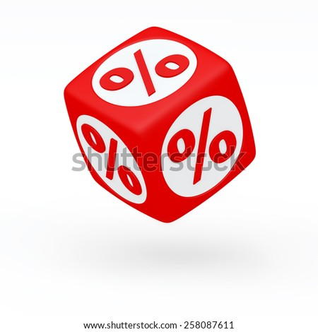 Red cube with a percent sign on the sides (isolated) - stock photo