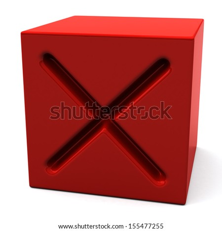 Red cube with cross mark, 3d - stock photo